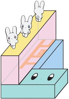 東京ガールズコレクションをメインにランウェイを歩くうさぎをデザイン。たくさんのモノの上にイベントが成り立っているといった意味合いを含めてブロックを積み重ねたランウェイをデザイン。