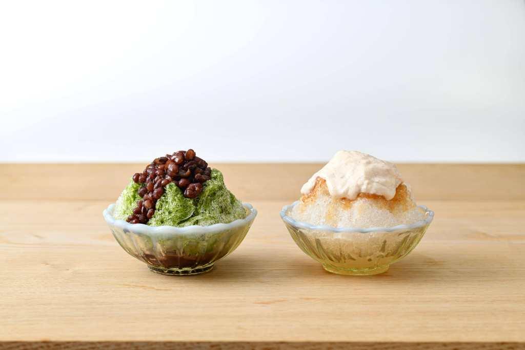 こだわり素材が活きた和菓子屋の「かき氷」が6月21日に発売 ~定番の宇治抹茶&白桃とクリームチーズのエスプーマ~